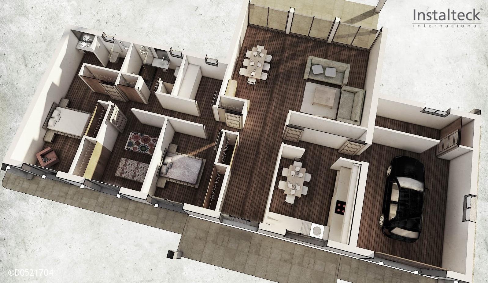 modelo de casa modular interior tiny