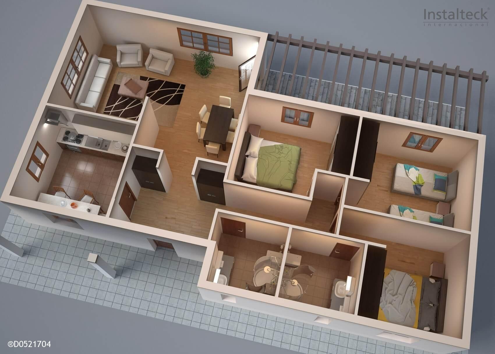 Modelo de casa prefabricada 131. Interior