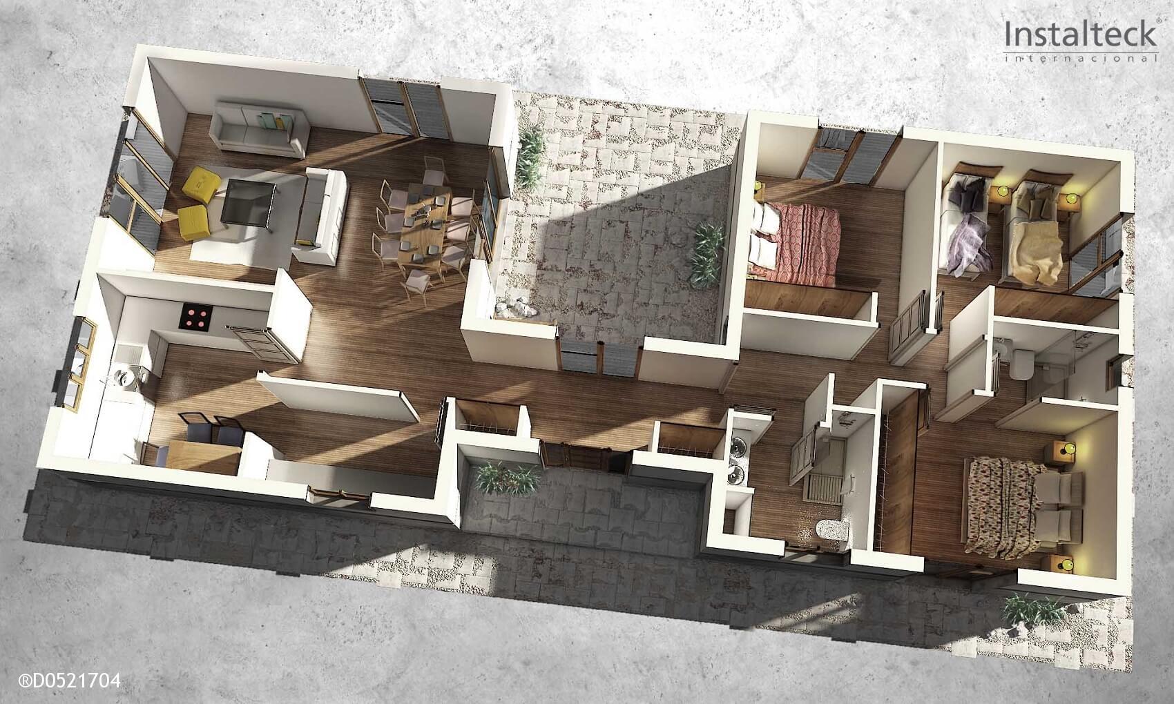 Casa prefabricada in teck 148 instalteckinstalteck - Interiores de casas prefabricadas ...