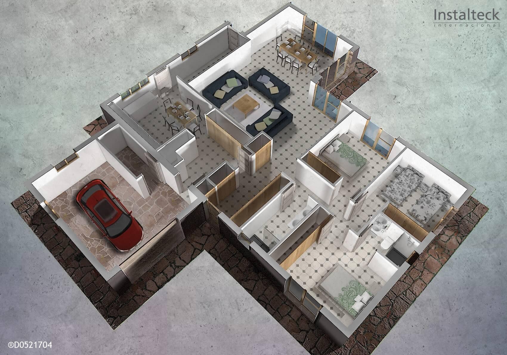 Casa prefabricada in teck 186 instalteckinstalteck for Interiores de casas prefabricadas