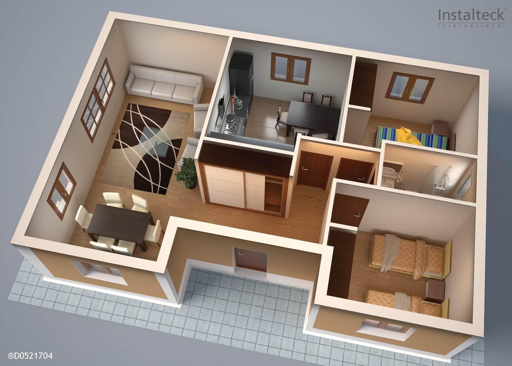 Modelo de casa prefabricada 84. Interior tiny