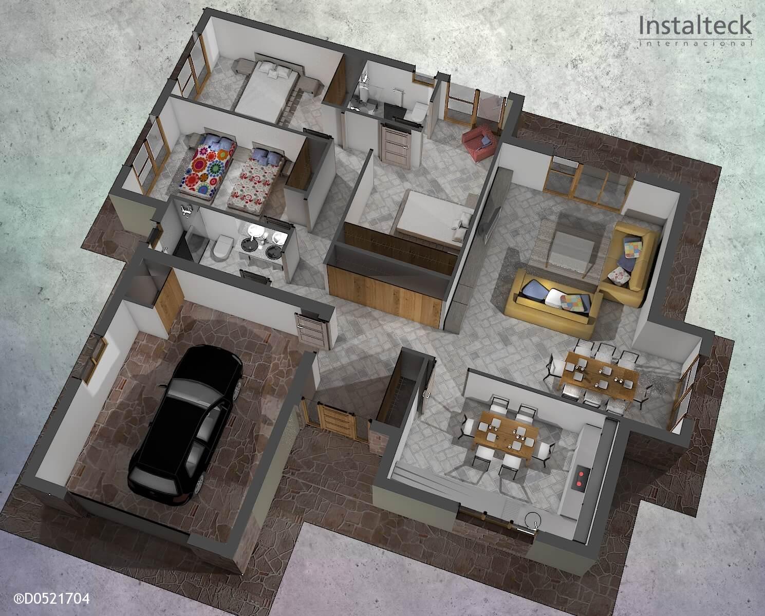 Modelo de casa prefabricada 165. Interior 1-3